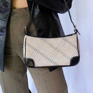 Black & cream plaid y2k faux leather baguette bag